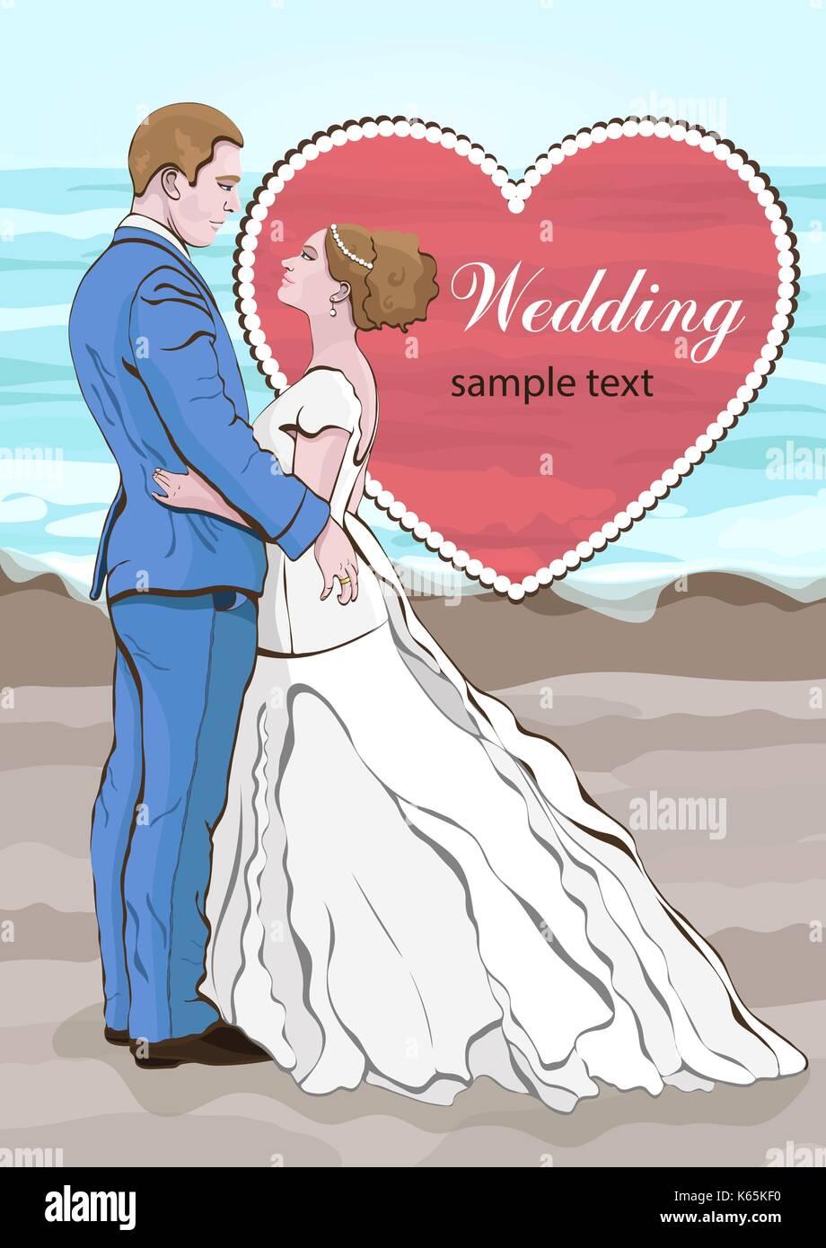 Bride And Groom Cartoon Vector Wedding Invitation Card Couple In