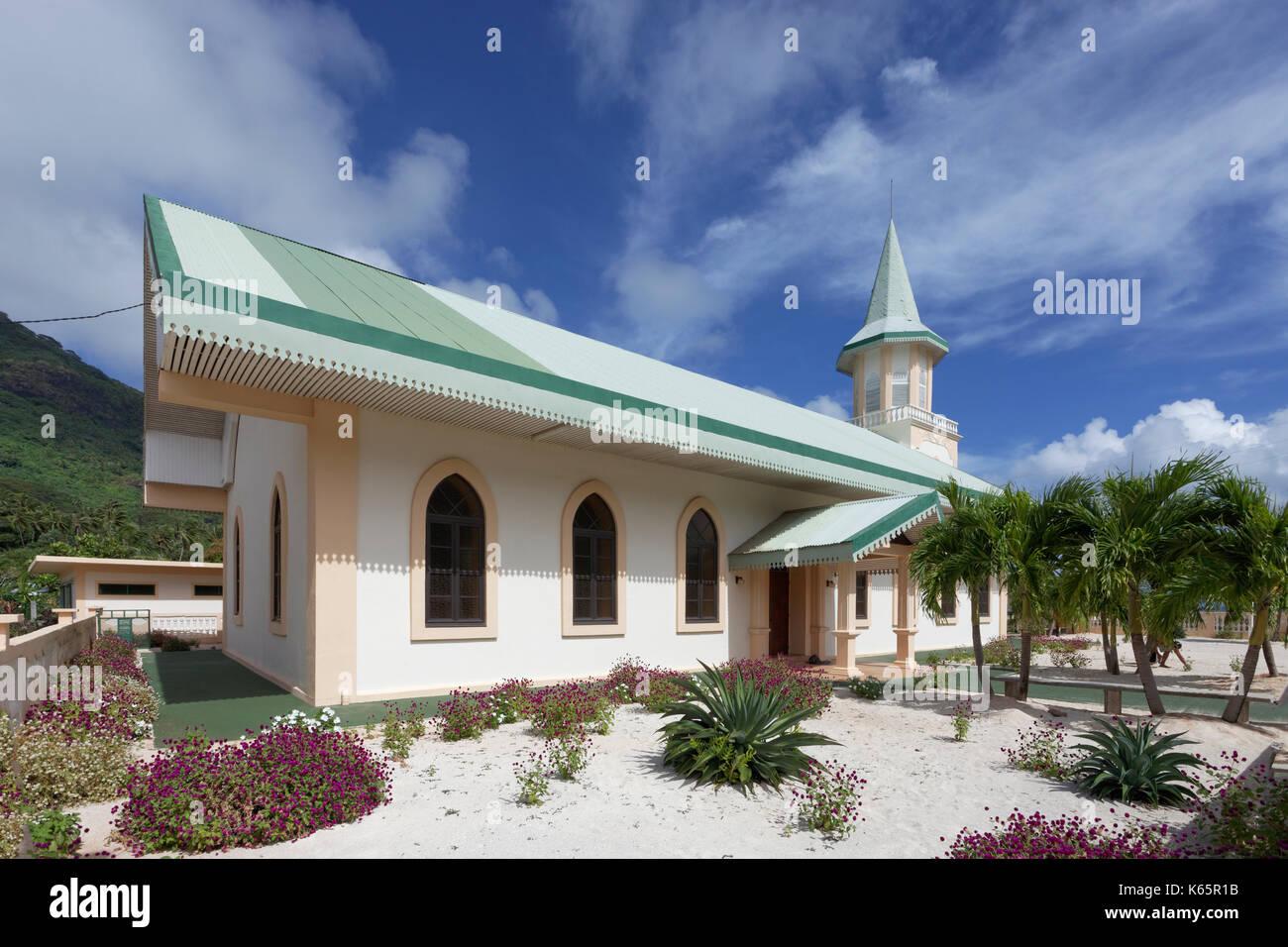 Catholic Church, Vaitape, Bora Bora Island, Society Islands, French Polynesia - Stock Image