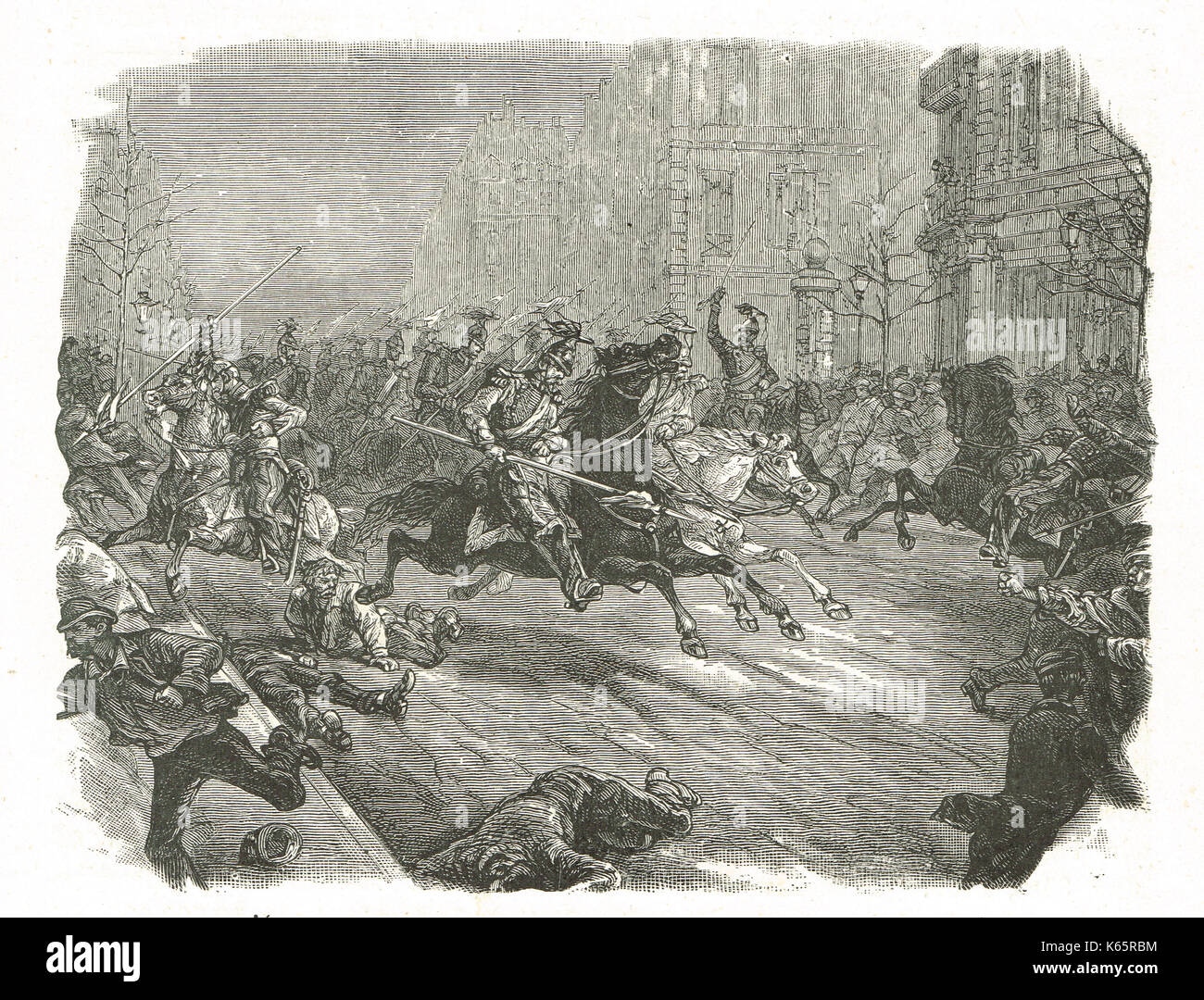 French coup d'état of 1851, lancers charging the crowd in the boulevards of Paris - Stock Image