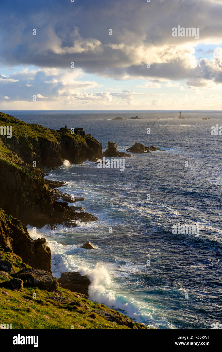 Longship Lighthouse, Longships Lighthouse, Land's End, Cornwall, England, Great Britain - Stock Image