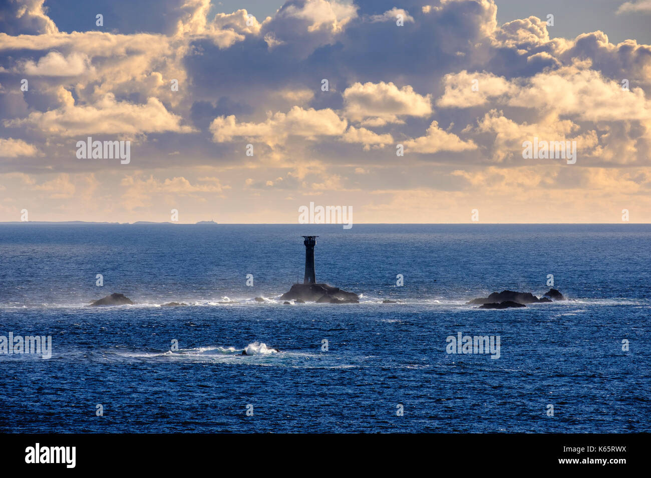 Longship Lighthouse, Longships Lighthouse, View from Land's End, Cornwall, England, Great Britain - Stock Image