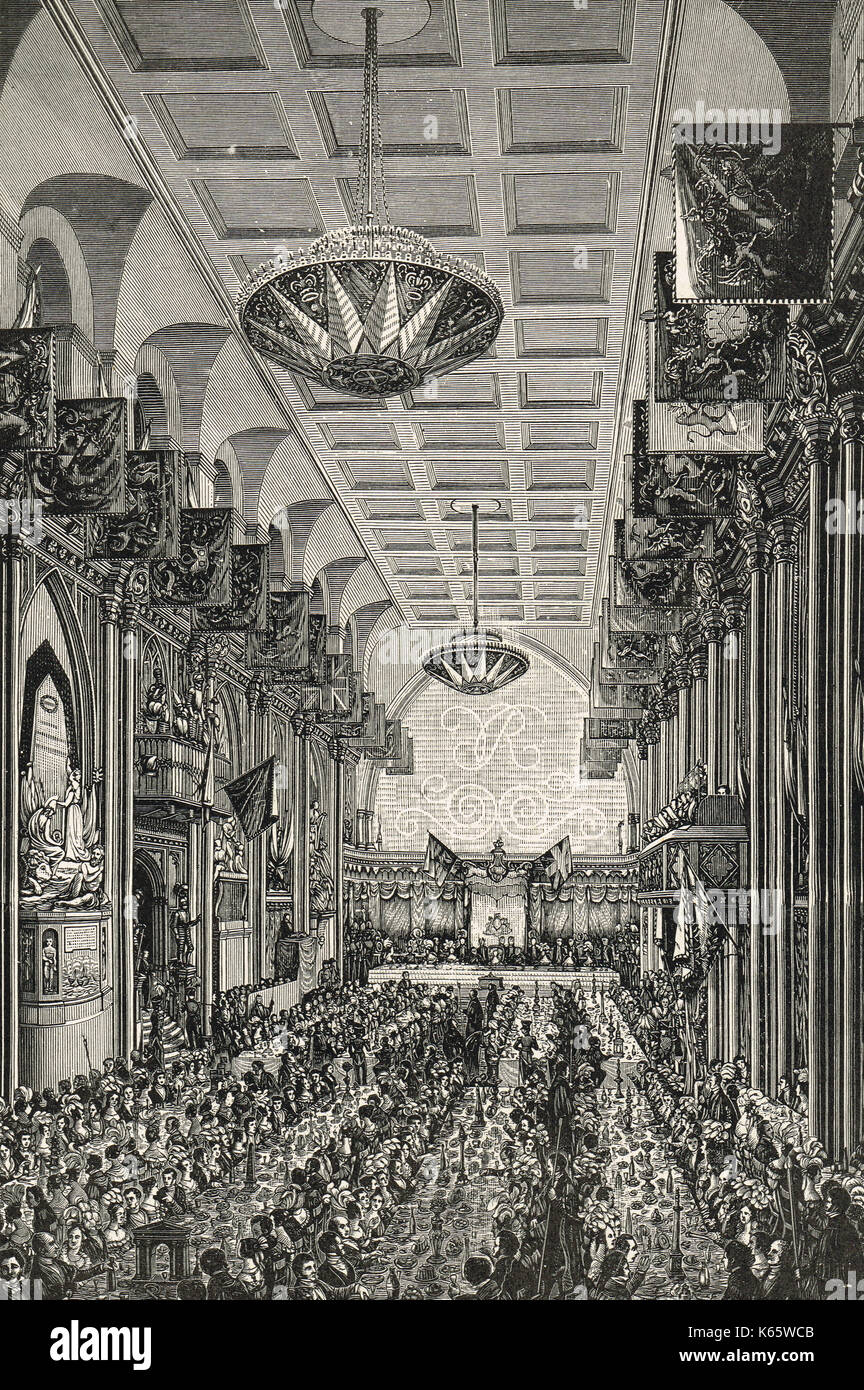 Banquet for Queen Victoria in the Guildhall, London on 9 November 1837 - Stock Image
