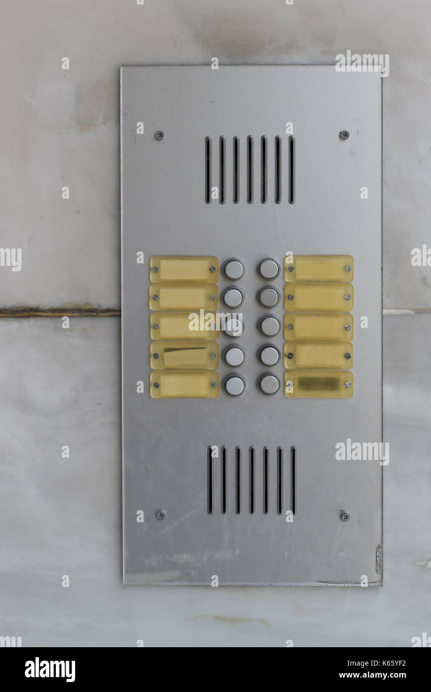 Residential Building Doorbell With Buttons And Blank Name Plates How To Build Intercommunication Intercom Door Bell Buzzer Background