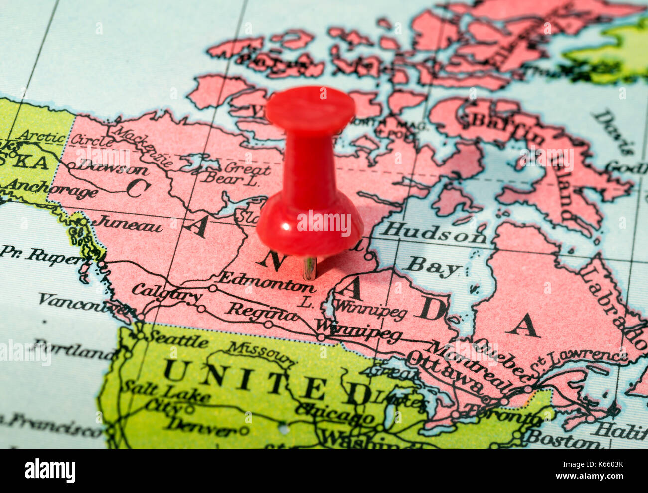 Close up map canada showing stock photos close up map canada vintage style map showing canada with push pin stock image gumiabroncs Choice Image