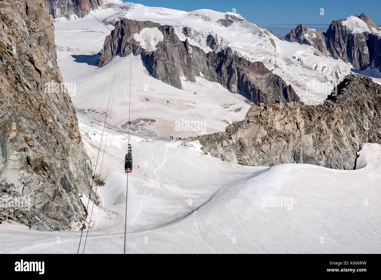 The Panoramic Mont Blanc Cable car from Aiguille du Midi in France on its way to Point Helbronner, Italy Stock Photo