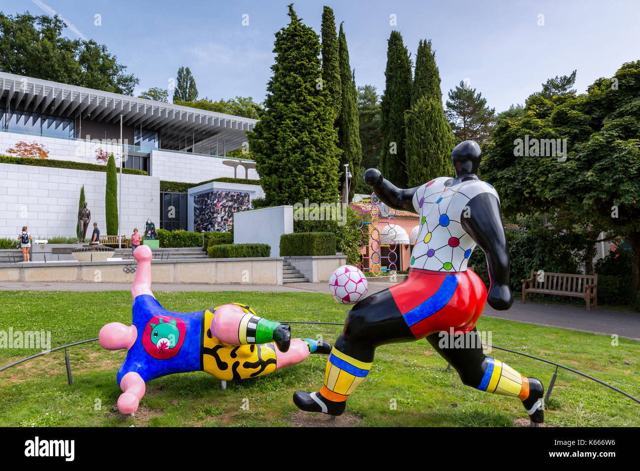 The footballers (les footballers) by Niki de Saint-Phalle, The Olympic Museum,Lausanne,Switzerland - Stock Image