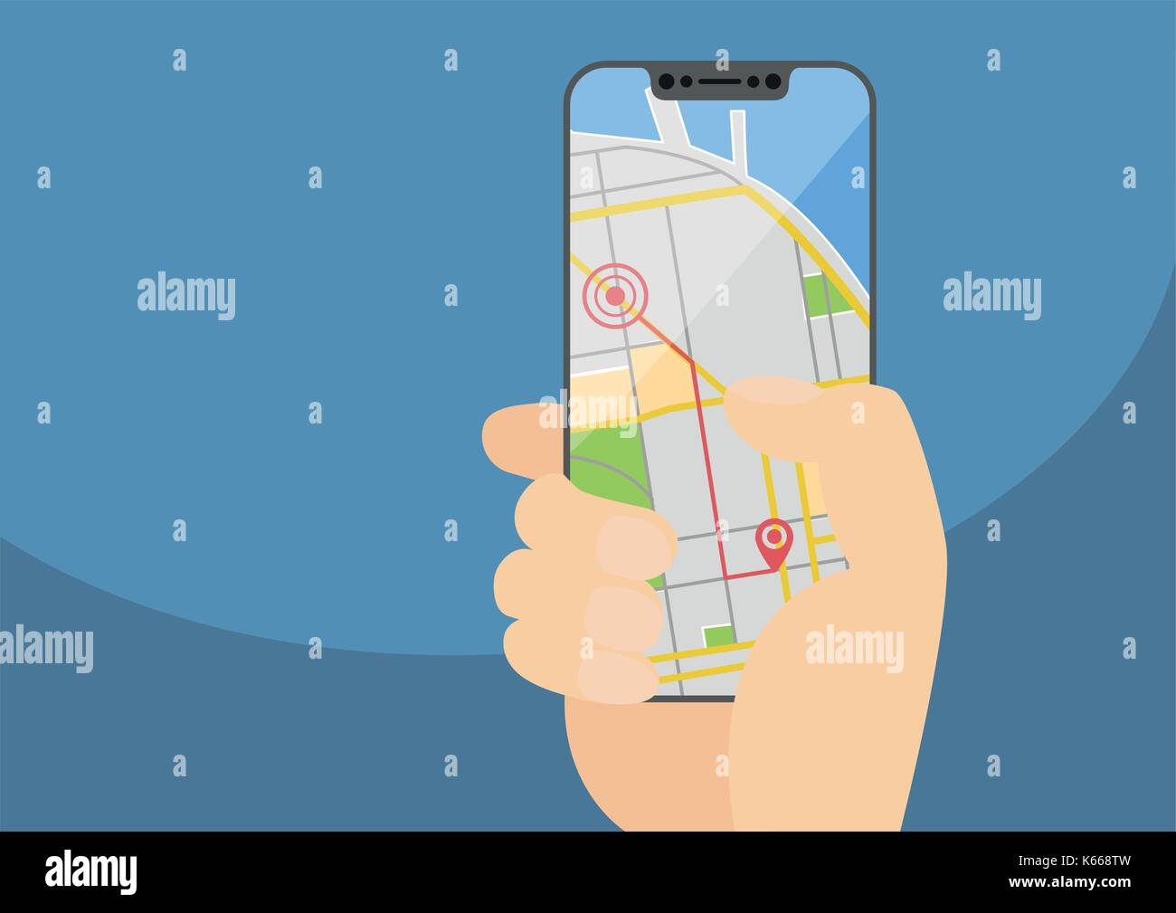 Mobile GPS navigation and routing concept with hand holding modern bezel-free smartphone. Vector illustration with frameless touchscreen displaying a - Stock Vector