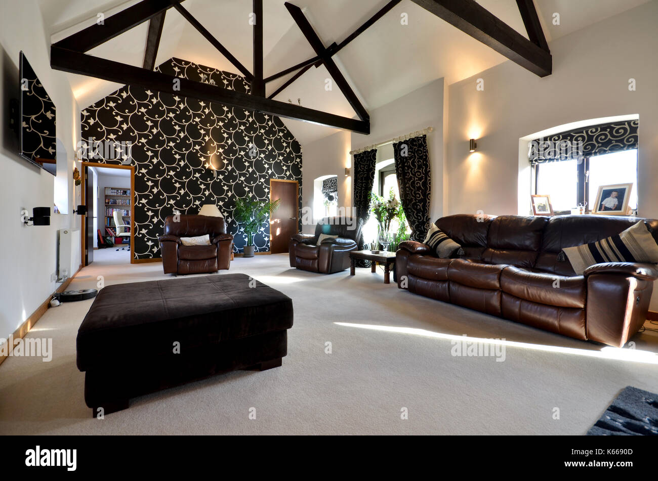 Luxury living room with leather sofas - Stock Image