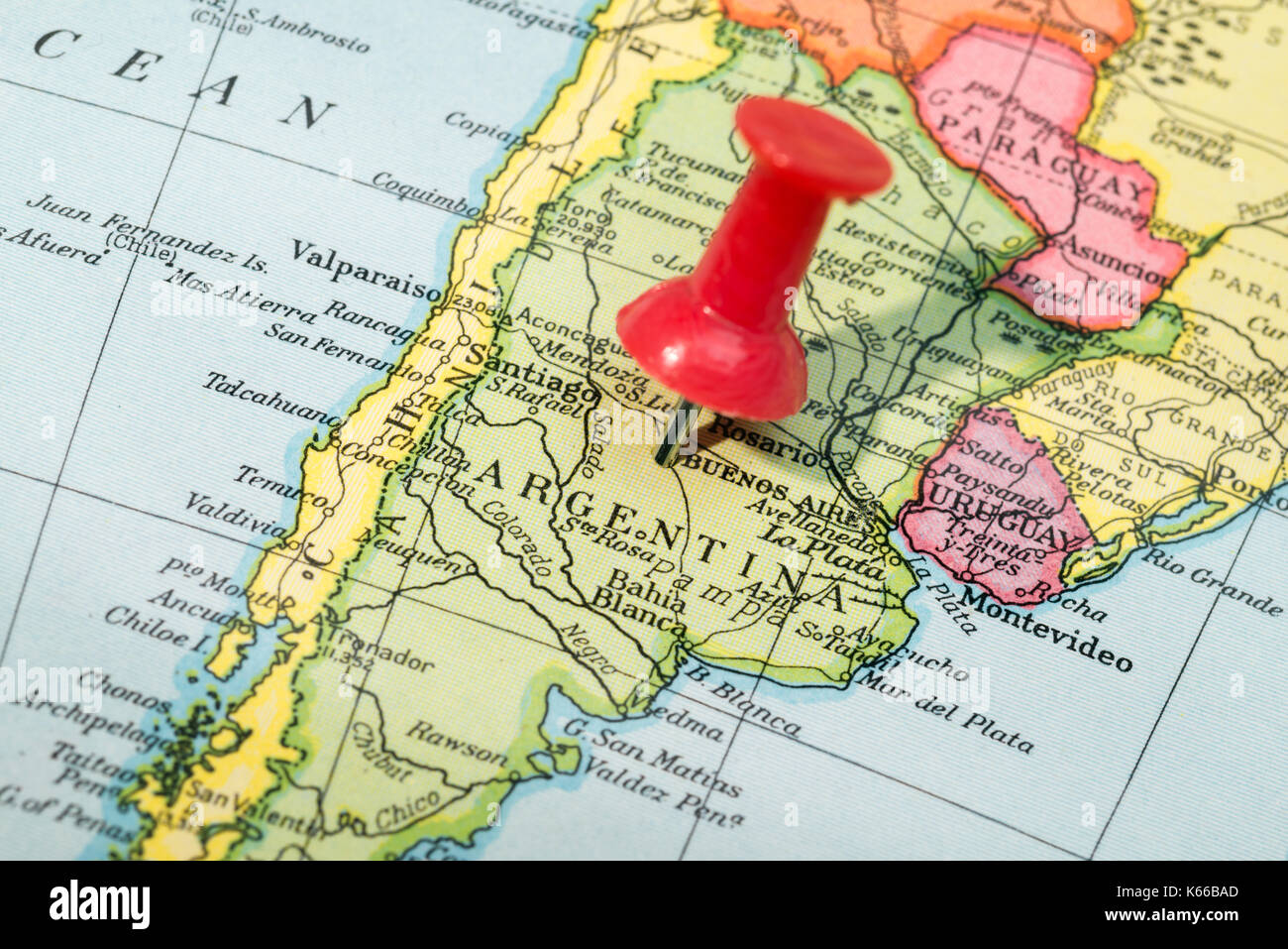 Latin america map stock photos latin america map stock images alamy vintage style map showing argentina with push pin stock image gumiabroncs Gallery