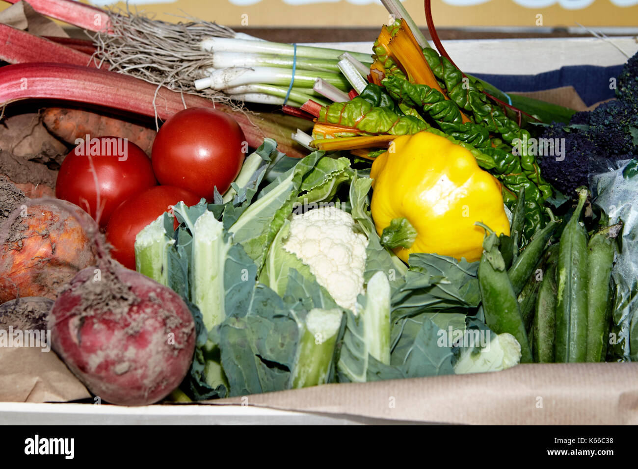 locally farmed produce in a vegetable box delivery by local farmers to local residents - Stock Image