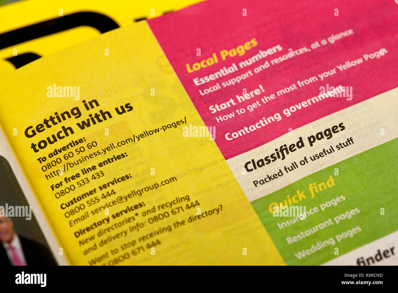 index for yellow pages classified telephone directory paper edition