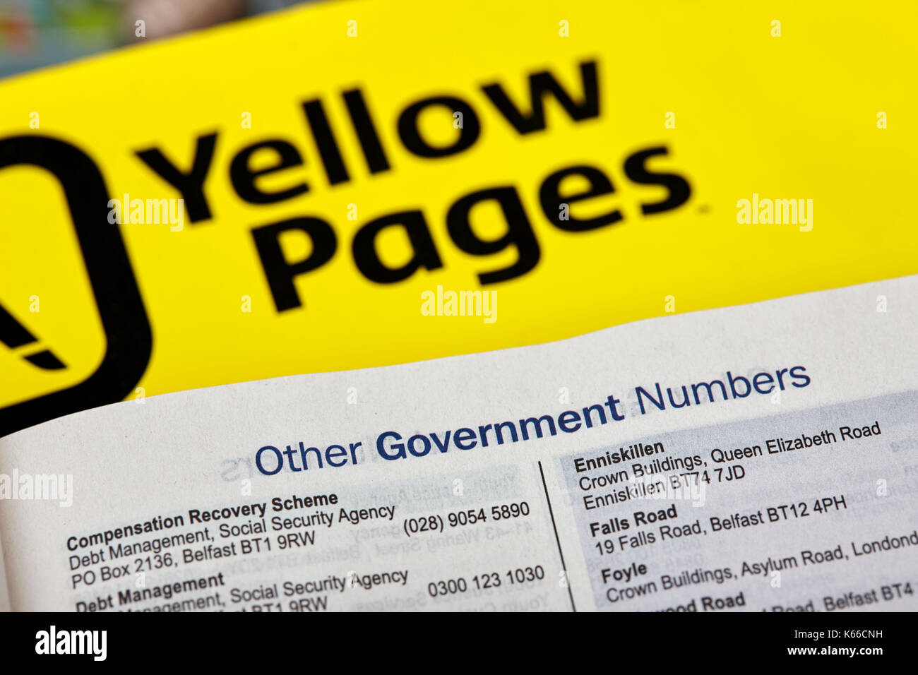 local government services numbers in yellow pages classified telephone directory paper edition uk - Stock Image