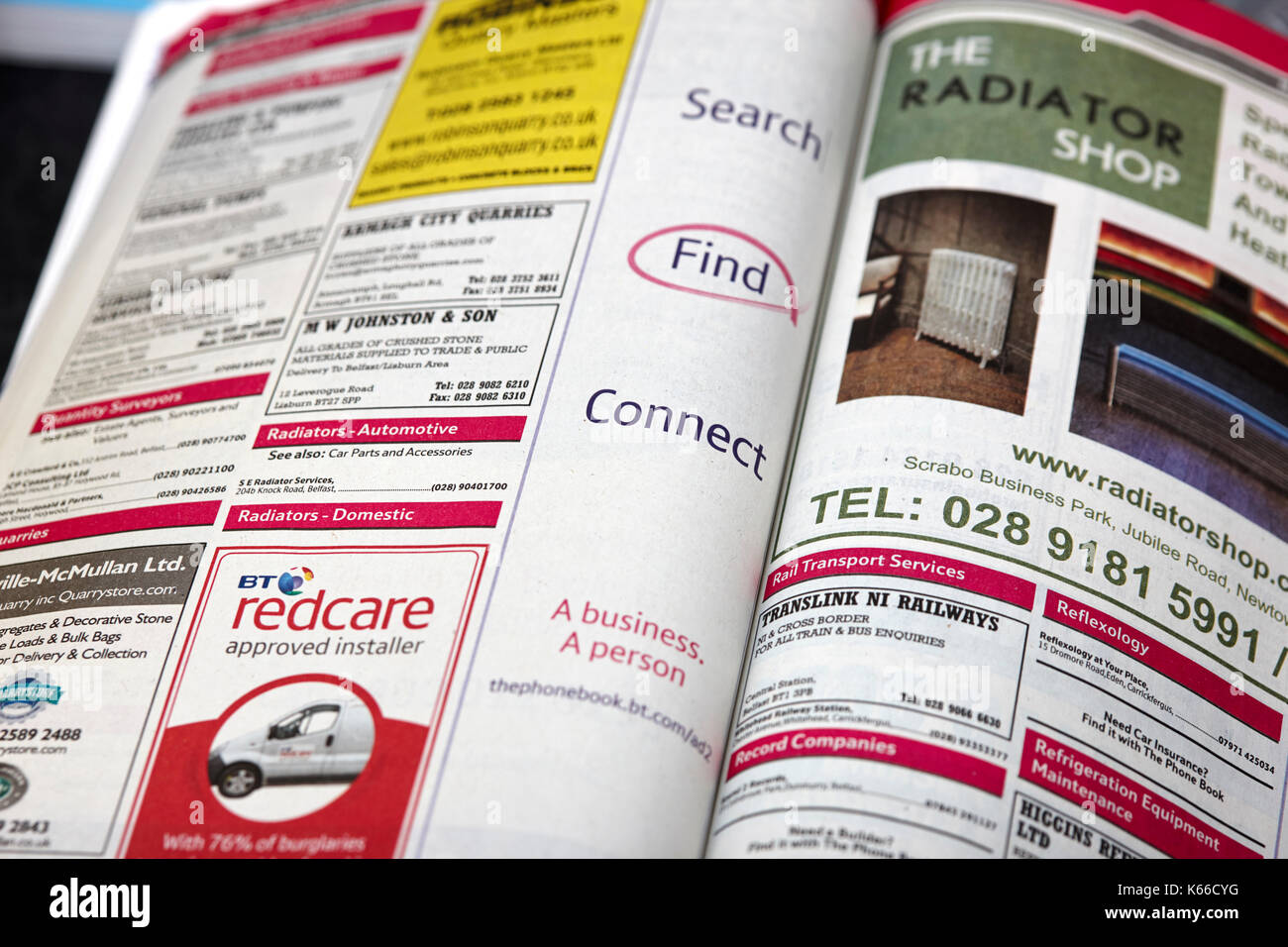 ads in the BT local telephone directory paper edition - Stock Image