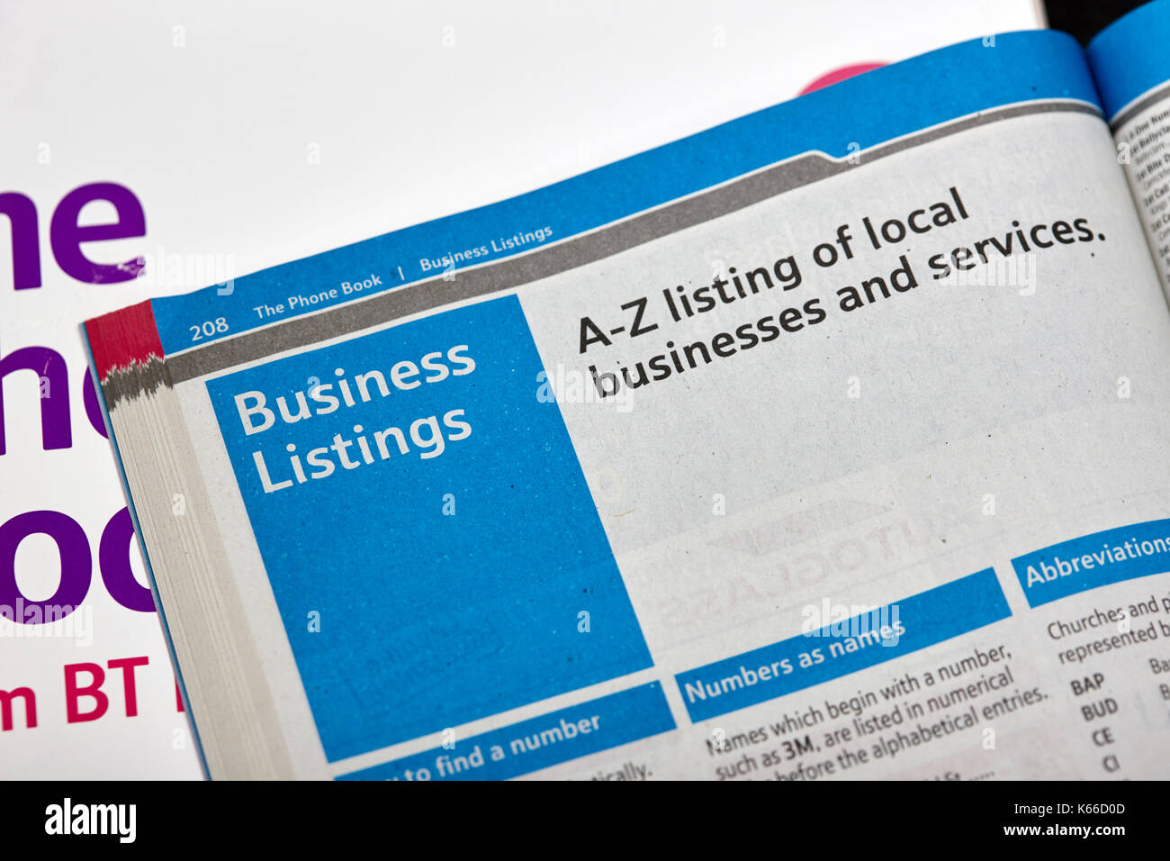 a-z business listings in the BT local telephone directory paper edition - Stock Image