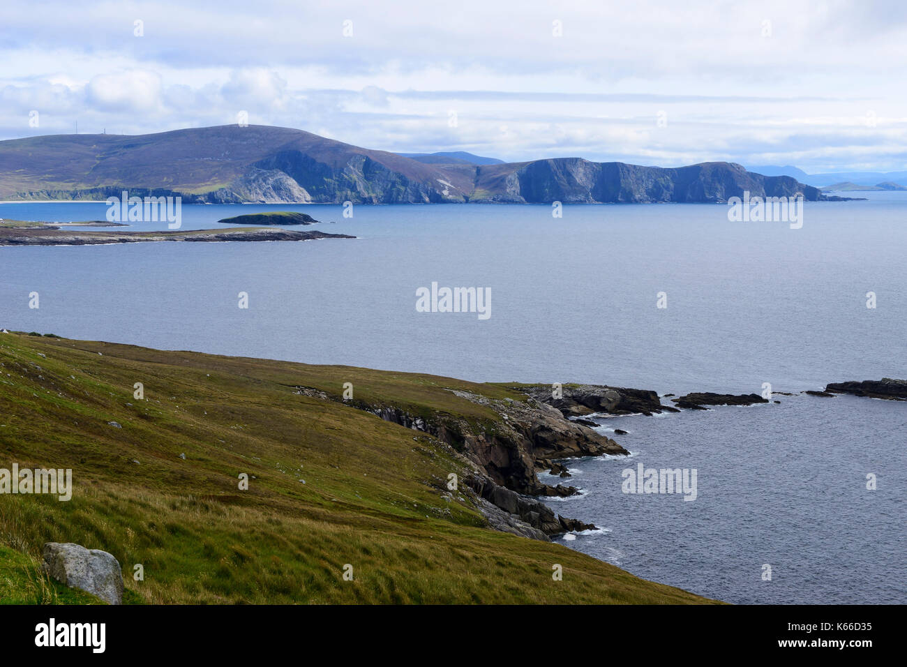 Rugged coastline at Keem Bay on Achill Island, County Mayo, Republic of Ireland - Stock Image