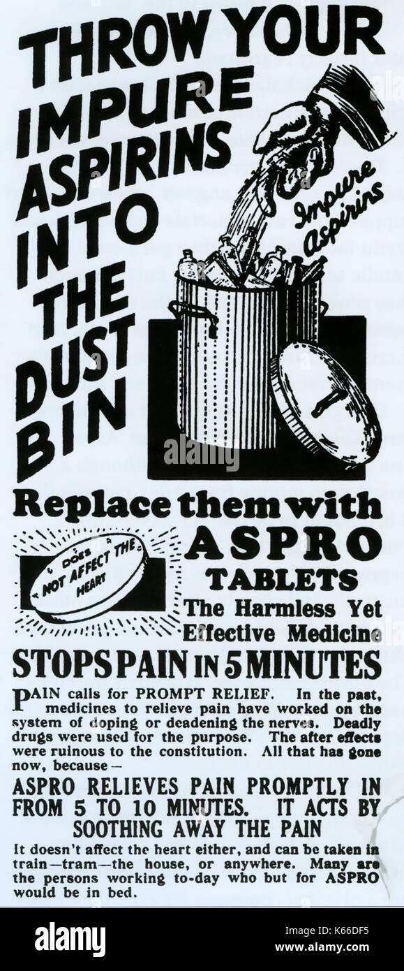 ASPRO advert about 1920 - Stock Image