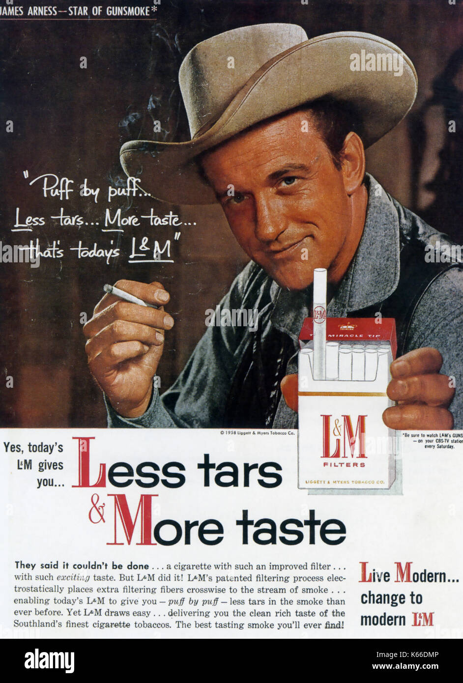 L&M Cigarettes advert with James Arness in 1958Stock Photo
