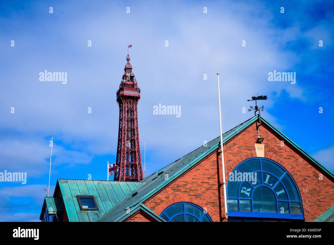 Blackpool RNLI Station & Blackpool Tower - Stock Image