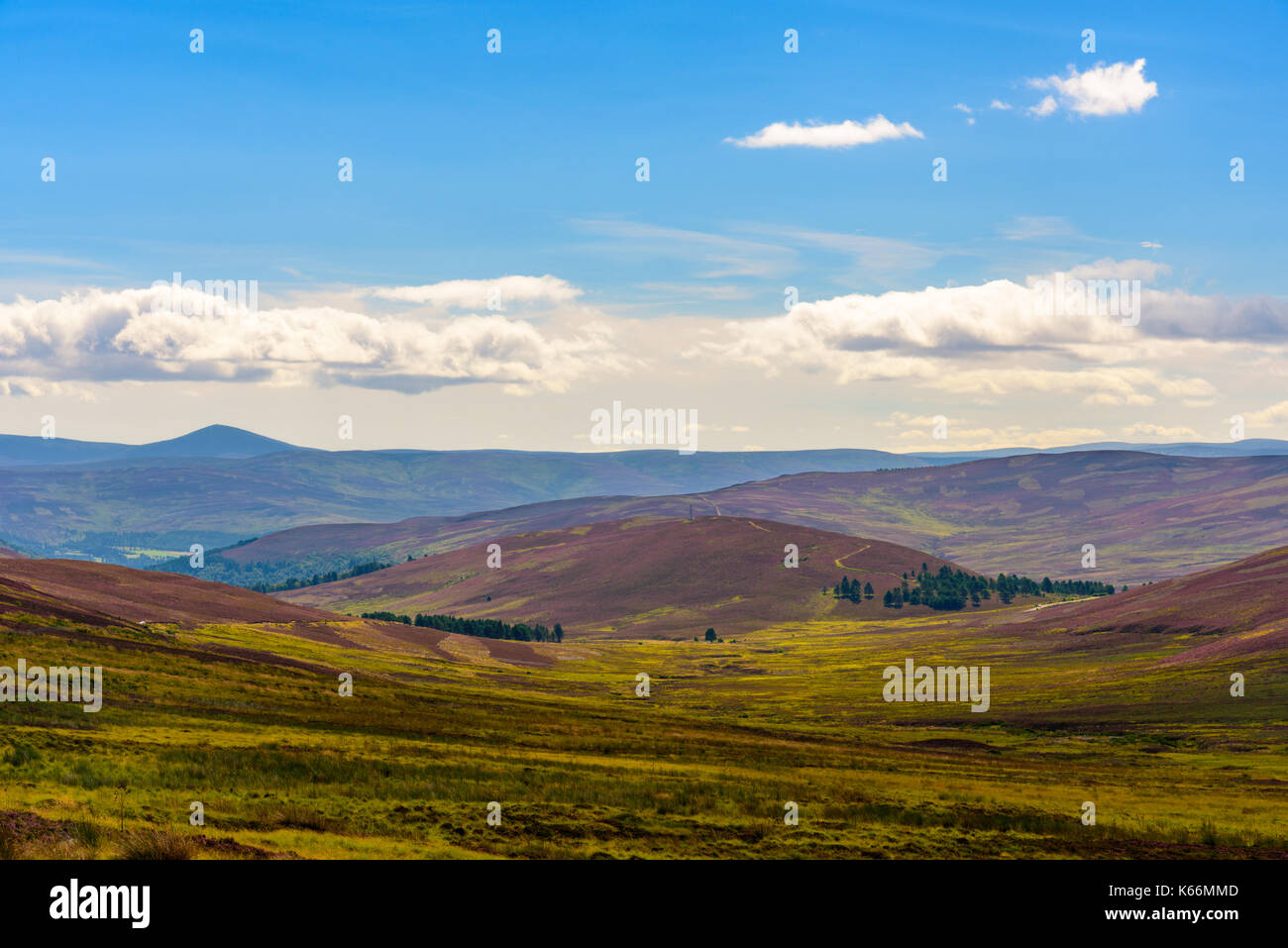 Scenic view of the beautiful nature of Cairngorms National Park in Scotland in summer - Stock Image