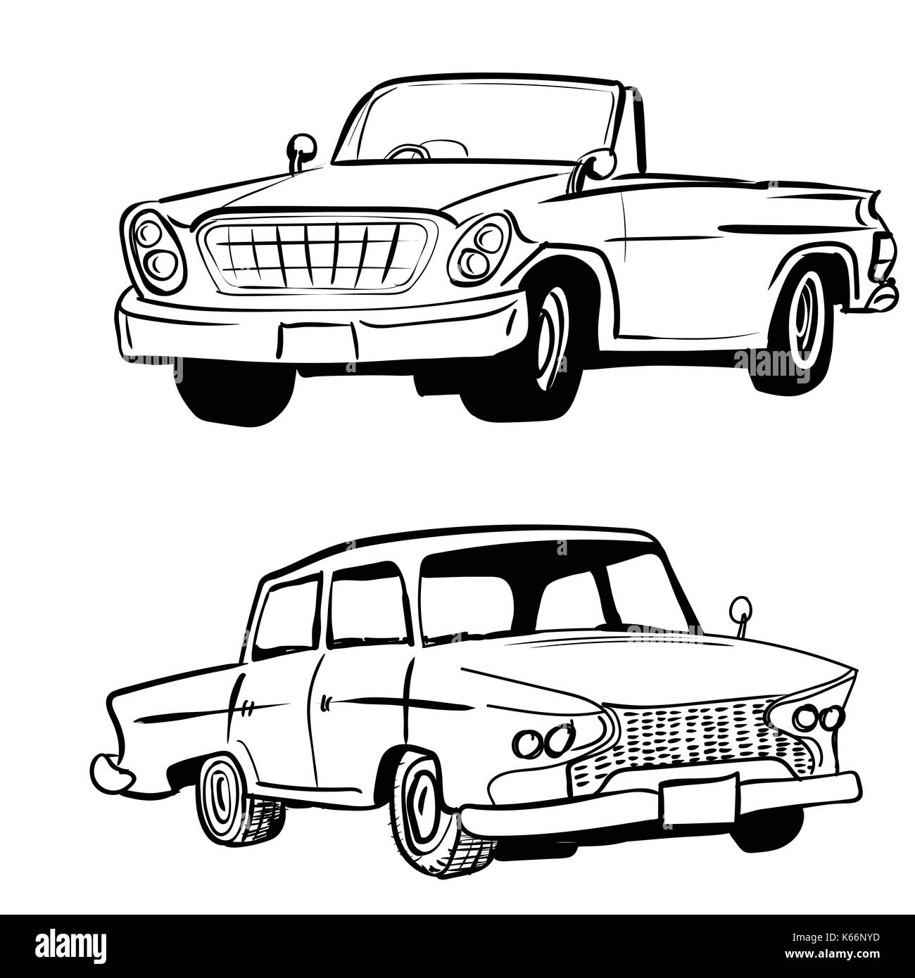 Hand drawn sketch of classic car, vintage car, transport or vehicle design. Vector Illustration - Stock Image