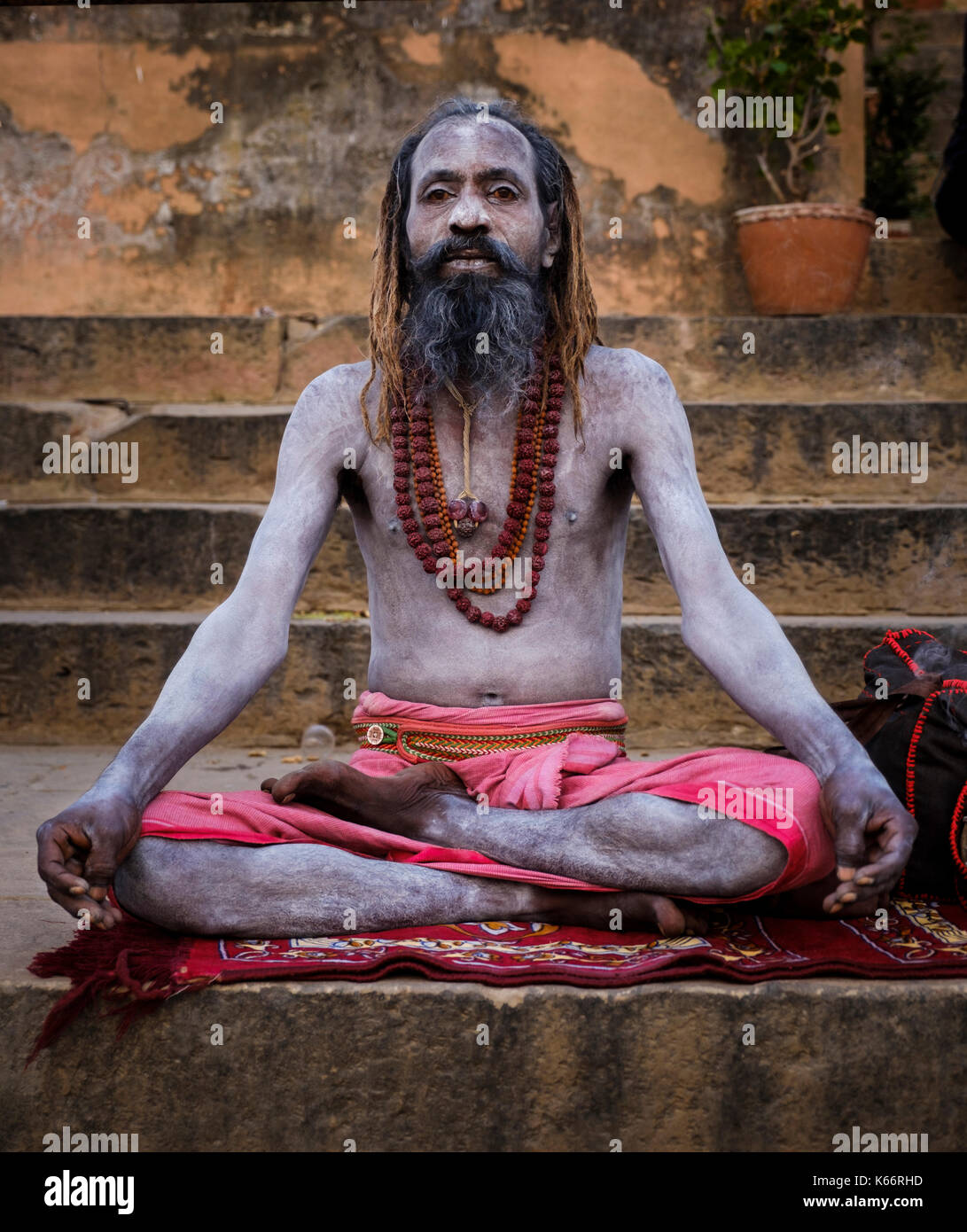 VARANASI, INDIA - CIRCA NOVEMBER 2016: Portrait of a Sadhu in Varanasi. The Sadhus or Holy Man are widely respected in India. Varanasi is the spiritua - Stock Image