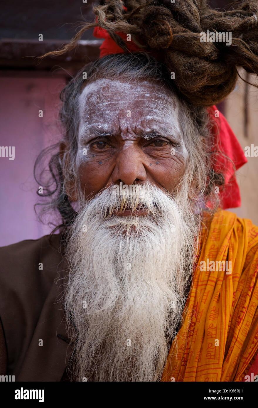 VARANASI, INDIA - CIRCA NOVEMBER 2016: Portrait of a Sadhu in Varanasi. The Sadhus or Holy Man are widely respected Stock Photo