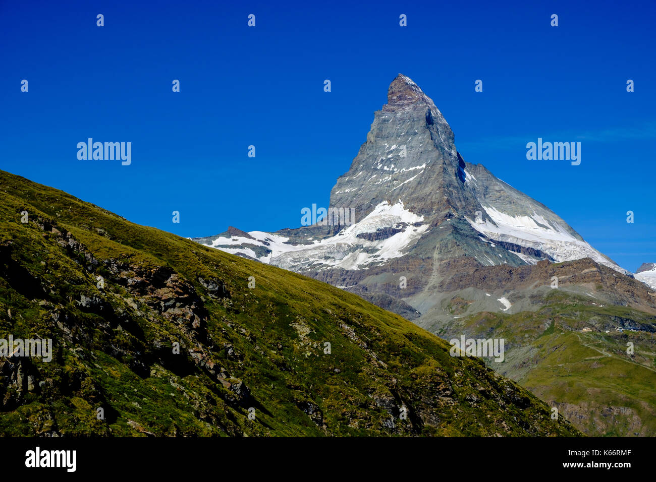 The East and North Face of the Matterhorn, Monte Cervino, with clear blue sky - Stock Image