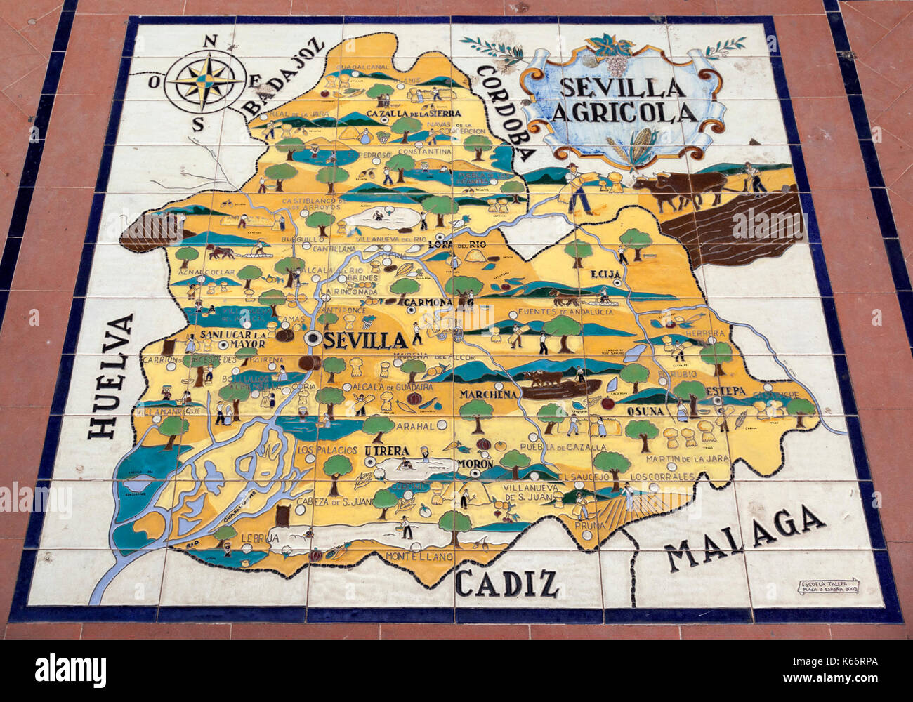 Map of the province of Seville in Plaza de Espana, Seville, Andalusia, Spain - Stock Image