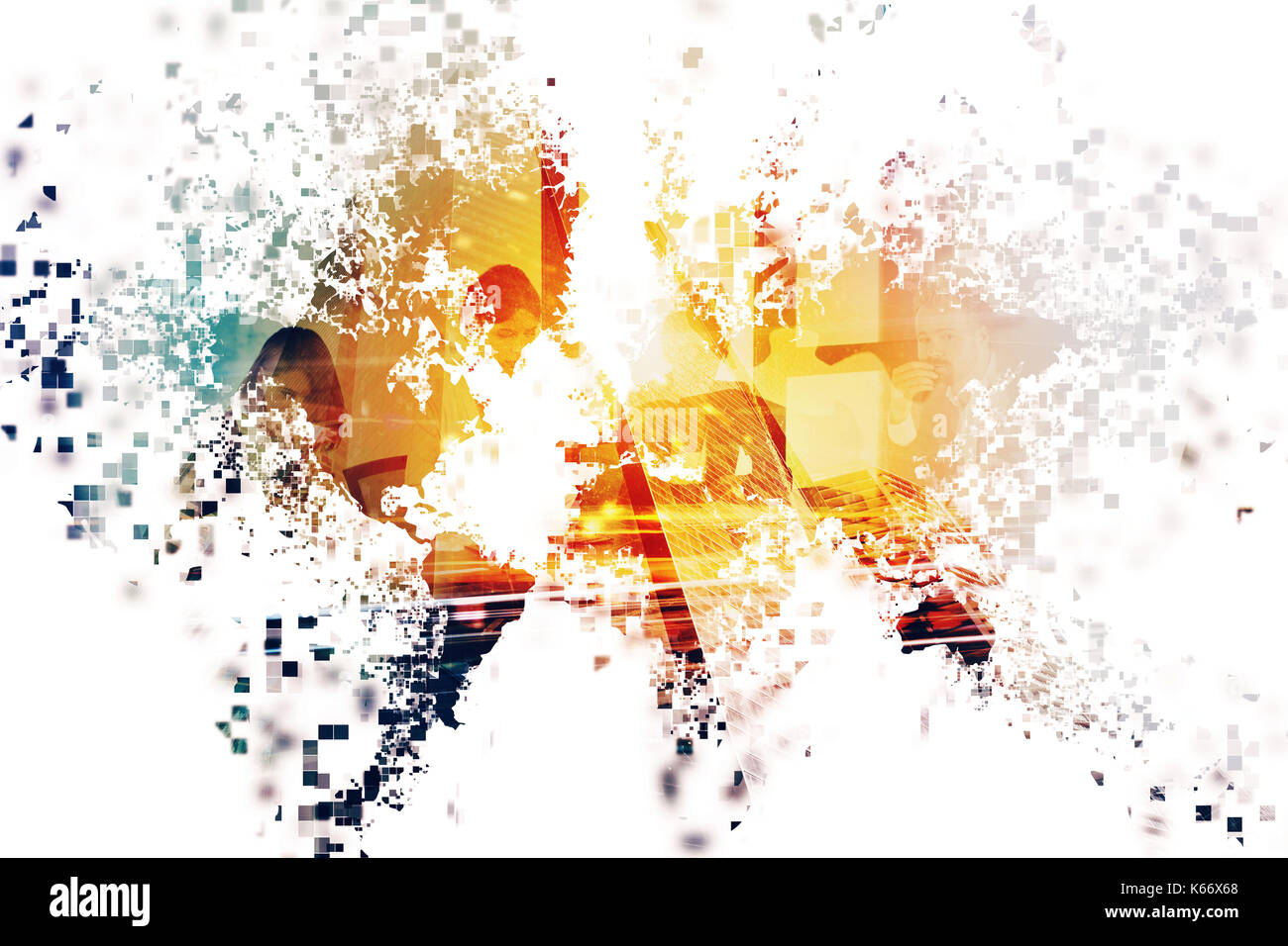 Abstract world with businessperson. Concept of global internet. Double exposure - Stock Image