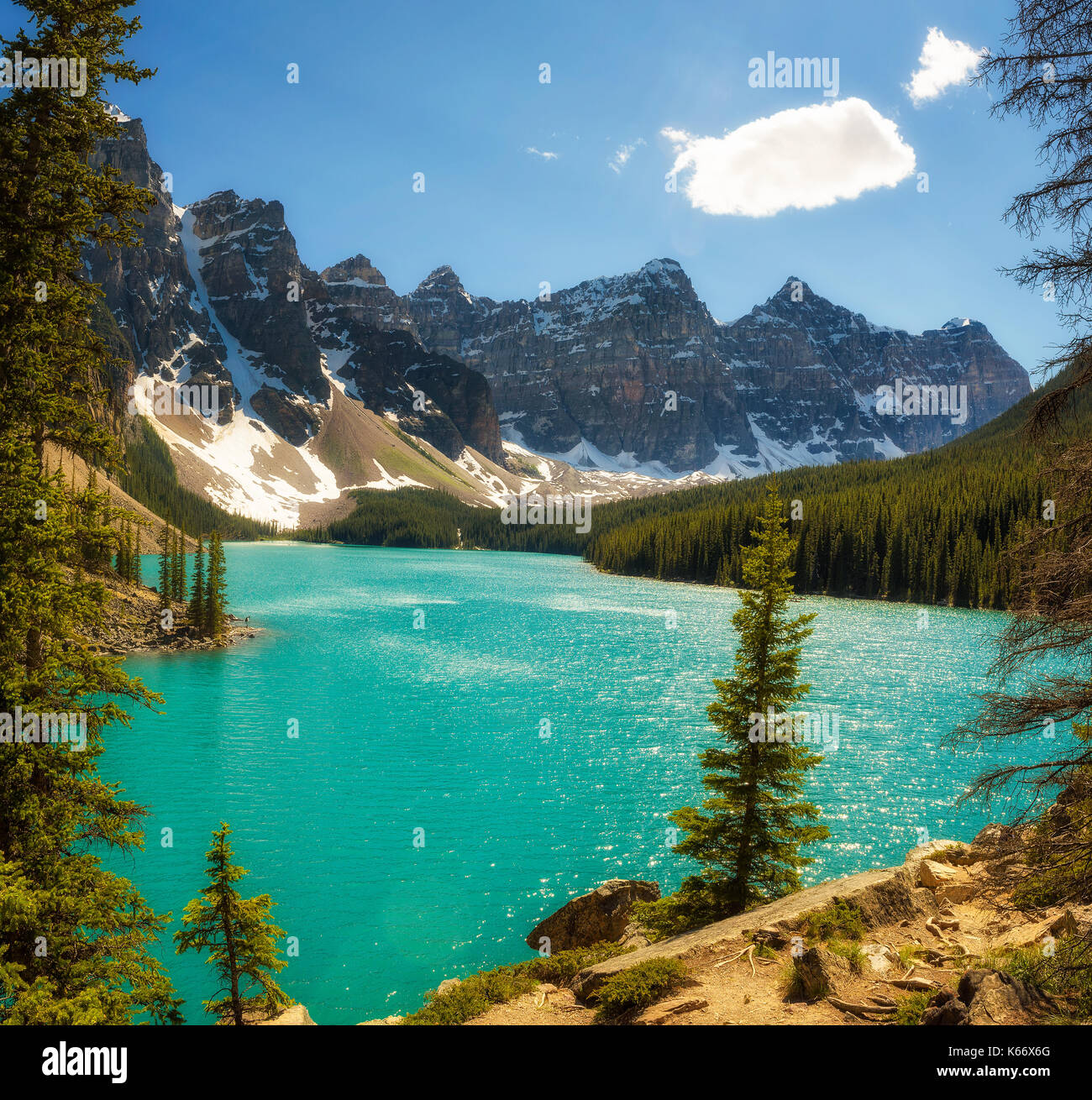 Beautiful Sunny Day At Moraine Lake In Banff National Park