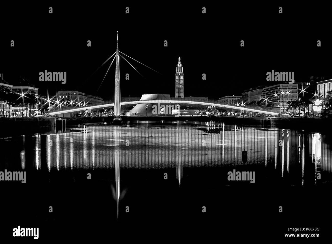 Bassin Du Commerce Bridge At Night In Le Havre, France (Black & White) - Stock Image