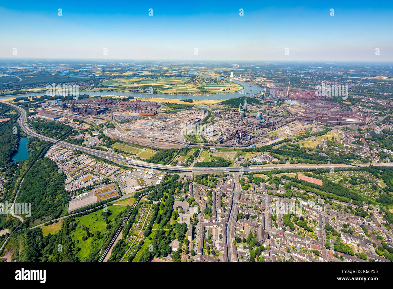 ThyssenKrupp Steel Europe AG, steelworks Bruckhausen, coal and steel industry, heavy industry, Duisburg, Ruhr, Nordrhein-Westfalen, Germany, Duisburg, - Stock Image