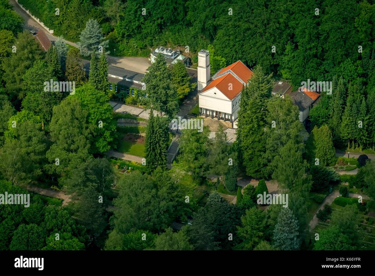 ,Eduard-Mueller crematorium, delstern, memorial, Krematirium Hagen, Hagen, Ruhr area, North Rhine-Westphalia, Germany, Europe, Hagen, Hagensueden, aer - Stock Image