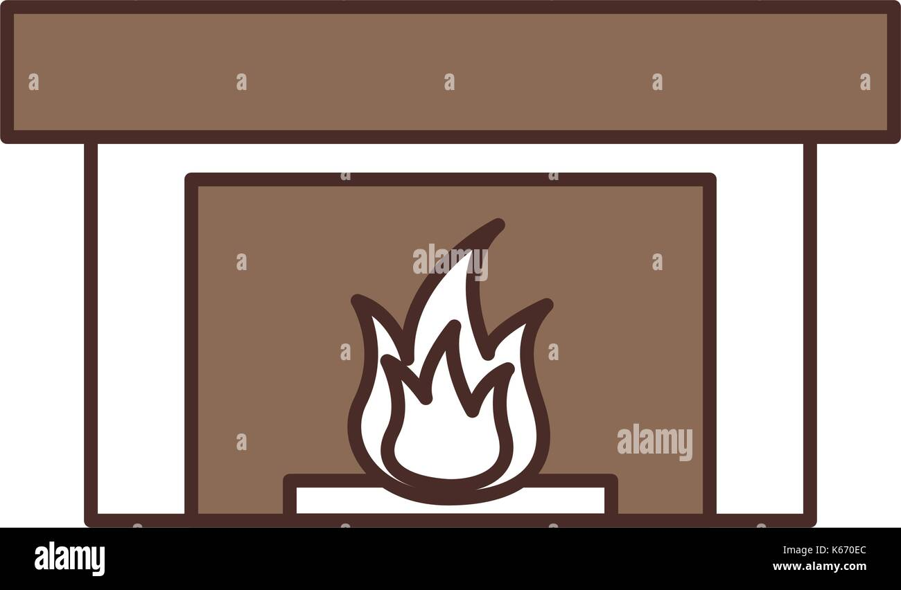 fireplace chimney flame indoor decoration - Stock Vector