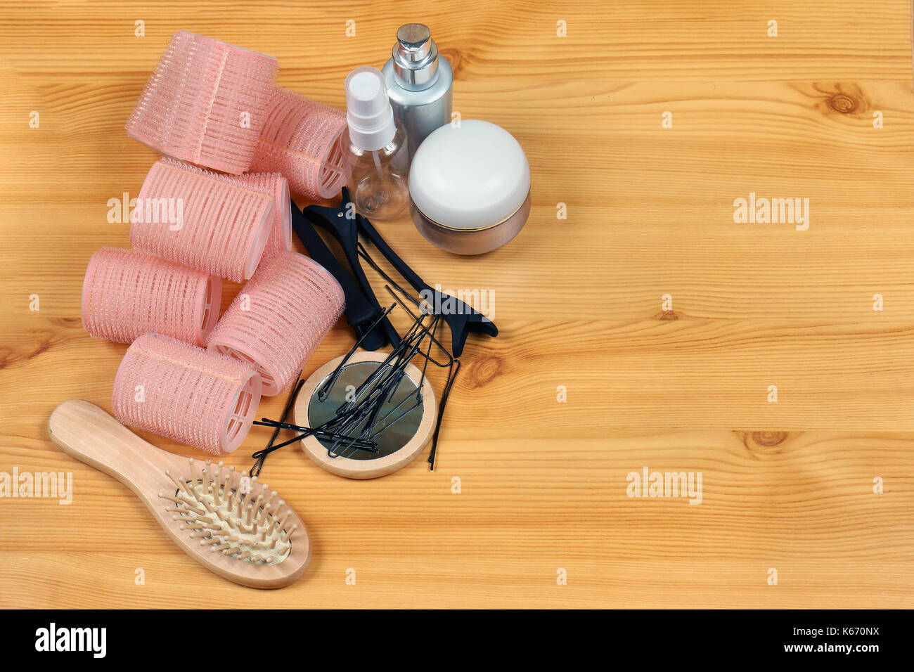 Hair velcro curlers set with other accessories for making hairstyle - Stock Image
