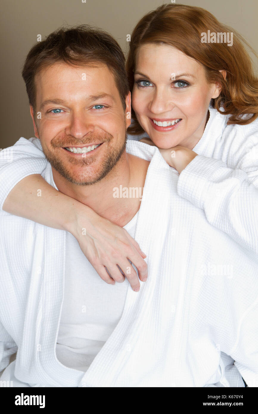 Cute Couple In Bath Robes Stock Photo Alamy