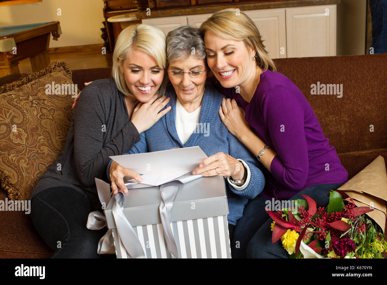 Celebrating mom and grandmother. - Stock Image