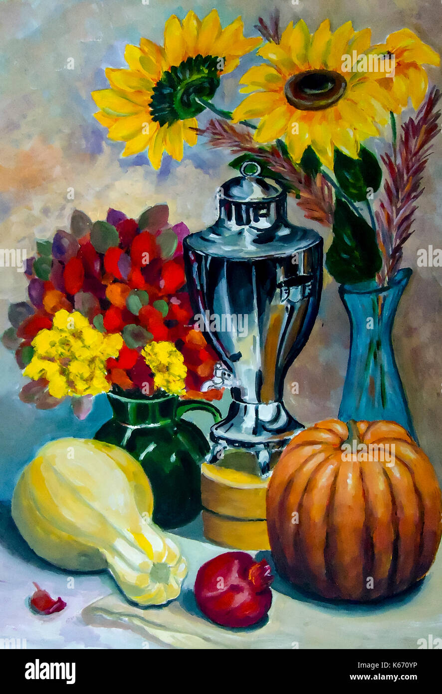 Still life. A painting depicting a still life, a vase, dishes, a bouquet and fruit - Stock Image