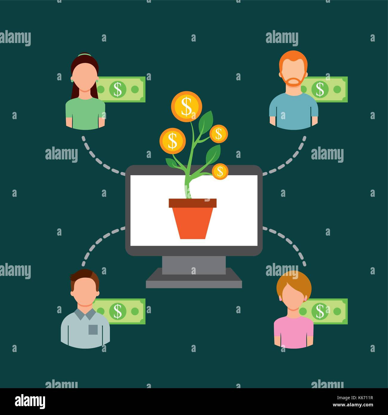 computer plant money community people funding collaboration - Stock Image