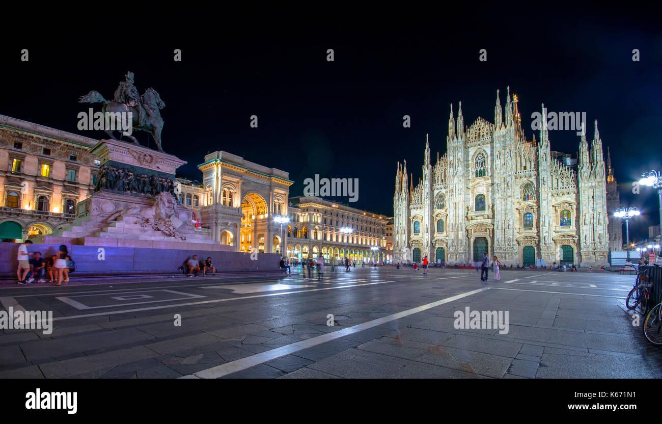Milan Cathedral, Piazza del Duomo at night, Lombardia, Italy - Stock Image