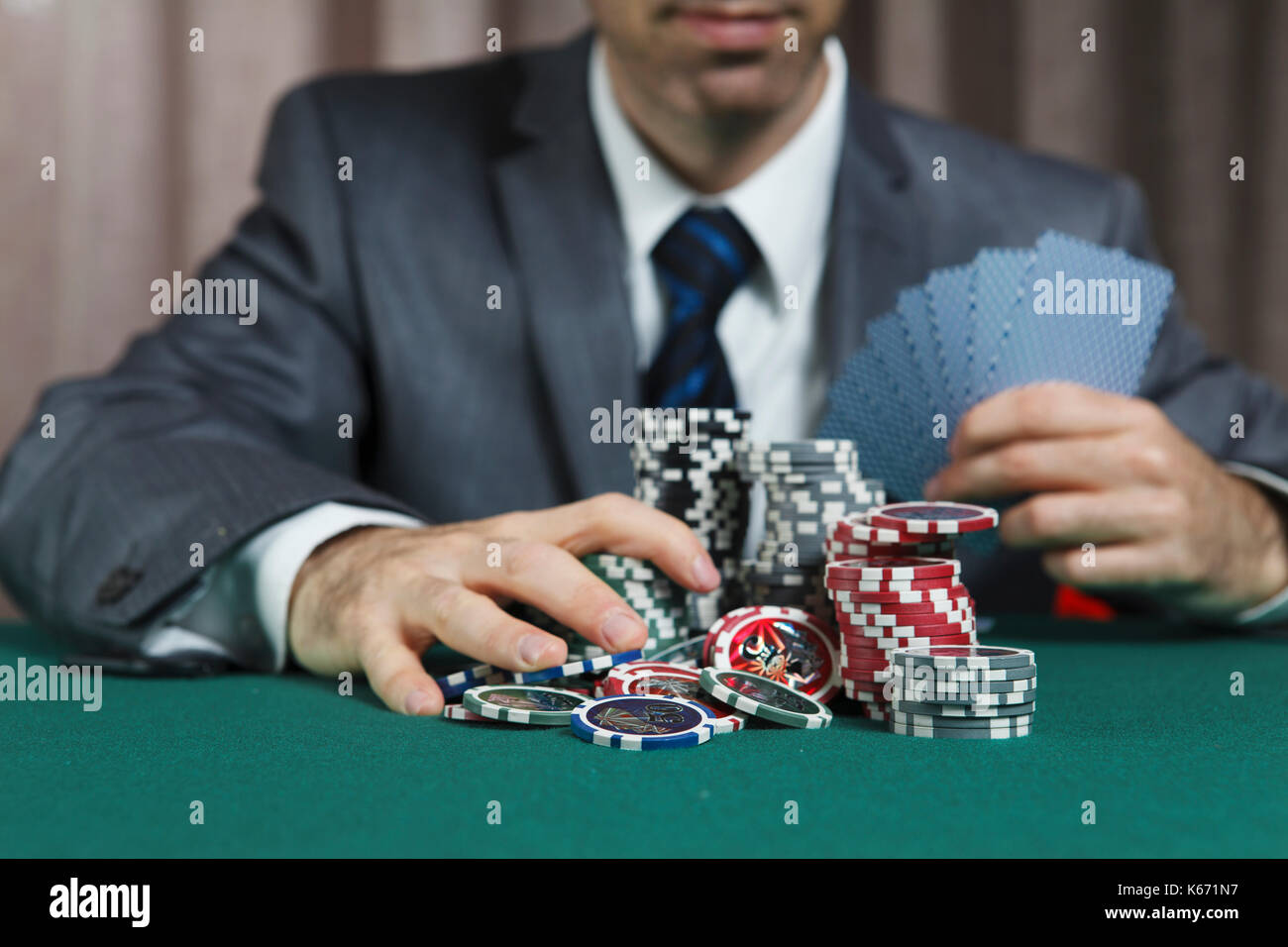 Blackjack Winner,A Solid Businessman, Won In Blackjack Game And - Stock Image
