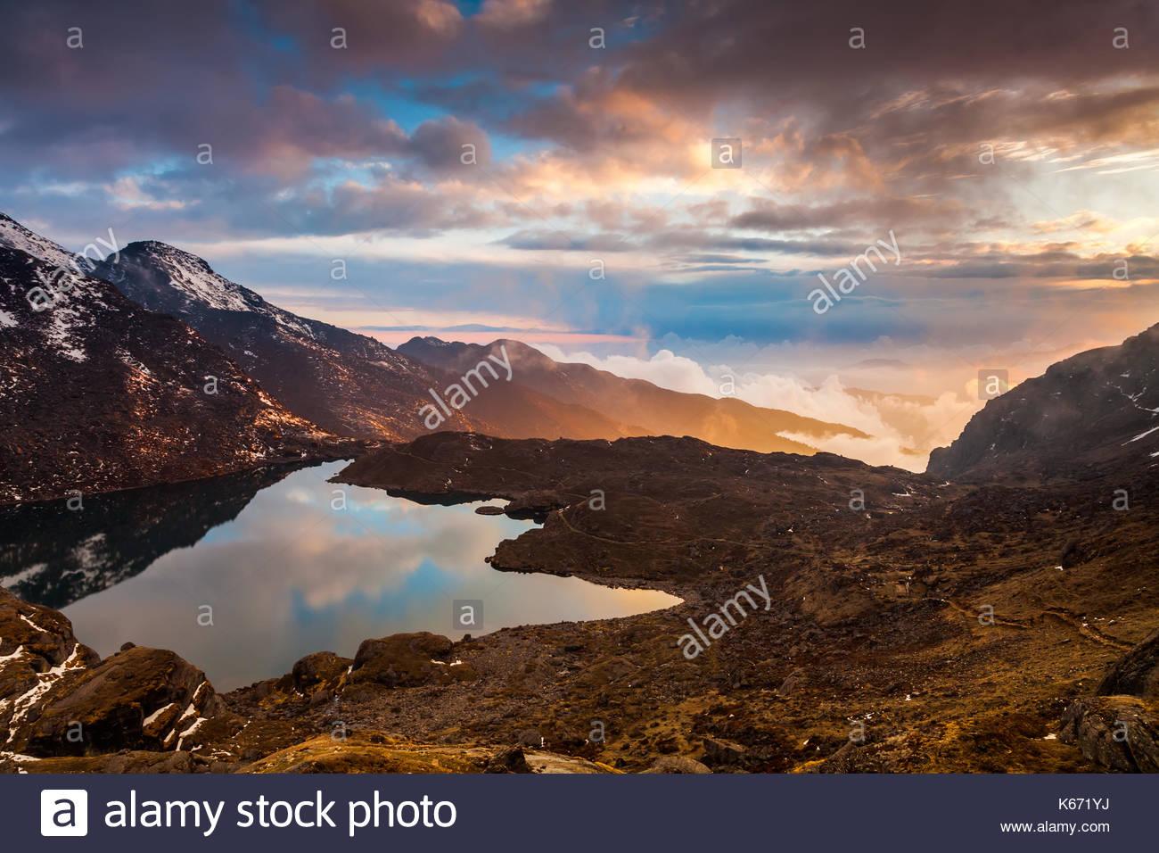 Gosaikunda lake on a beautiful sunset. Nepal, the Himalayas - Stock Image