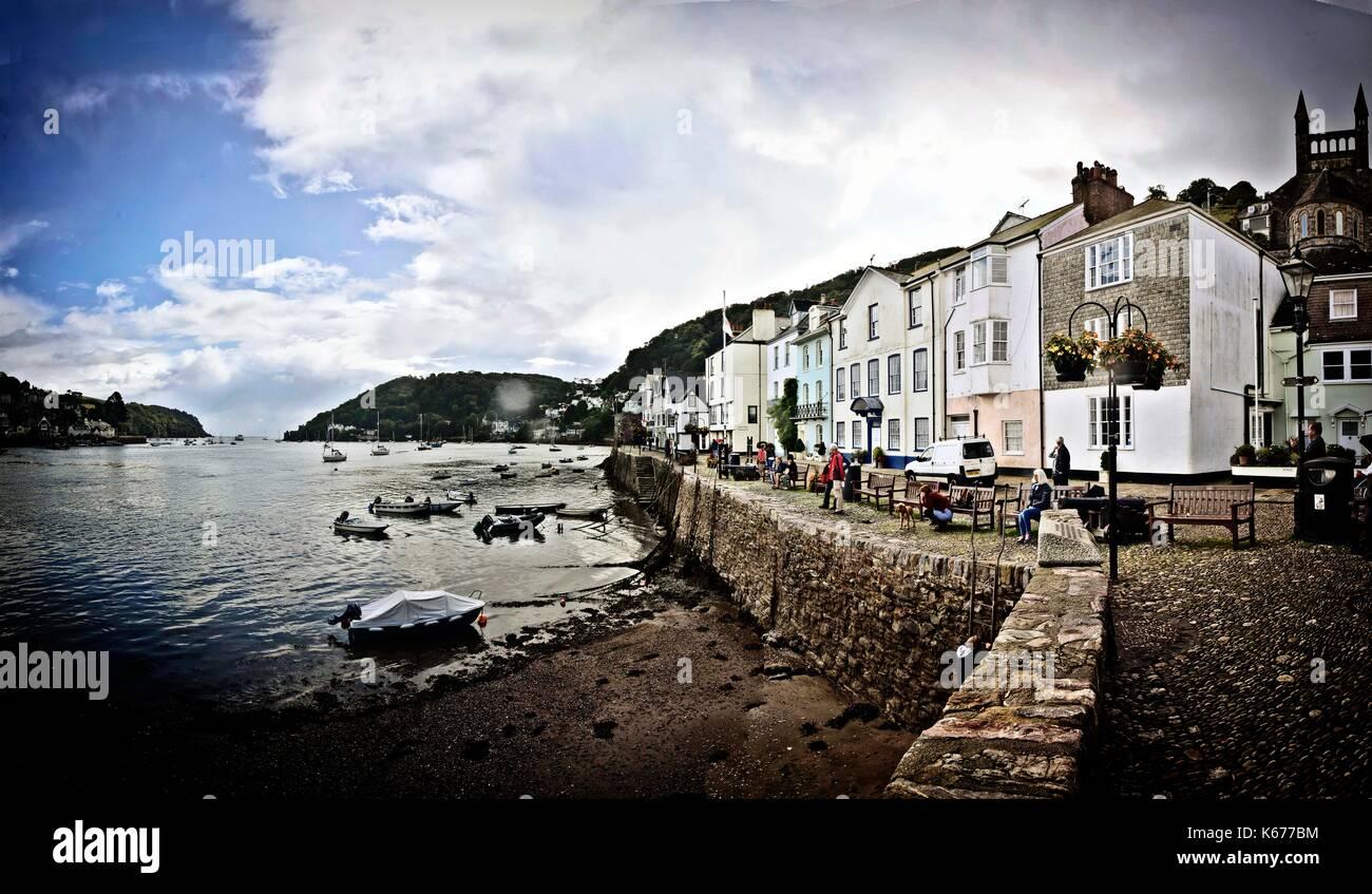 Dartmouth, Devon, England, a town and civil parish..  A tourist destination  on the western bank of the estuary Stock Photo