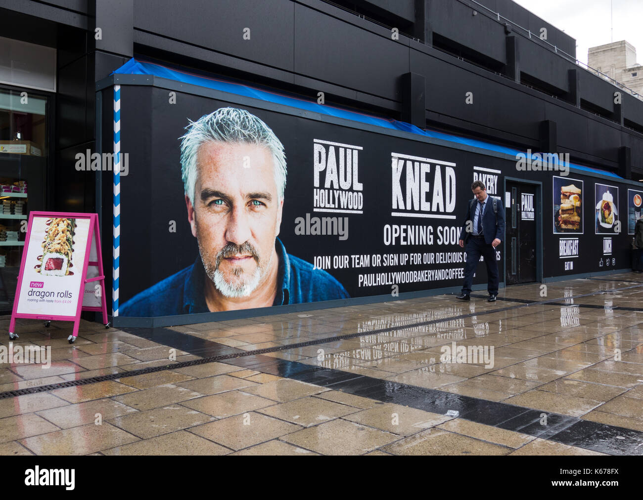 The first of Paul Hollywood's new chain of Knead Bakeries and Coffee Shops at Euston Station, London, UK - Stock Image