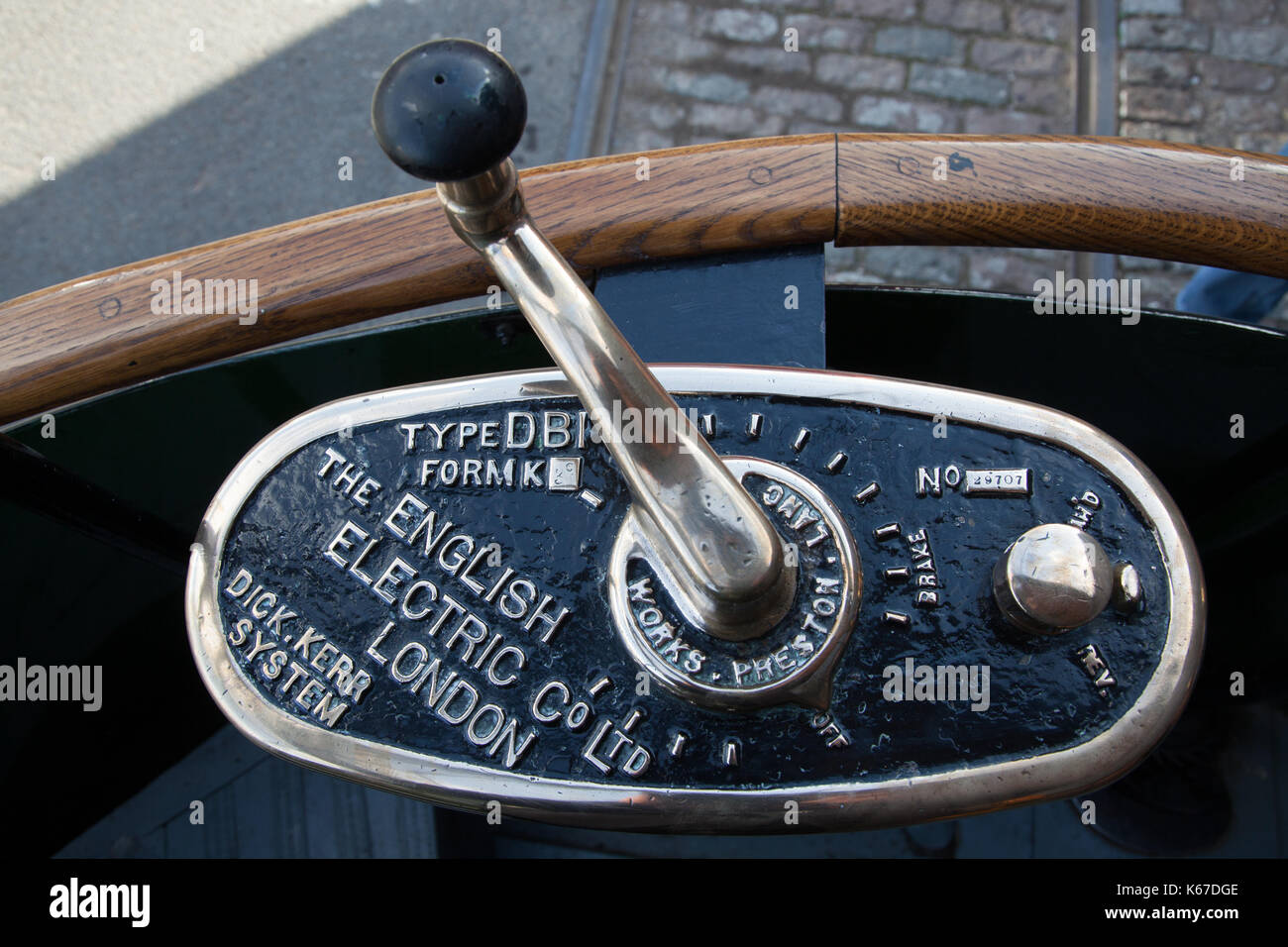 ?Vintage Electric Bus CVontrol Lever - Stock Image