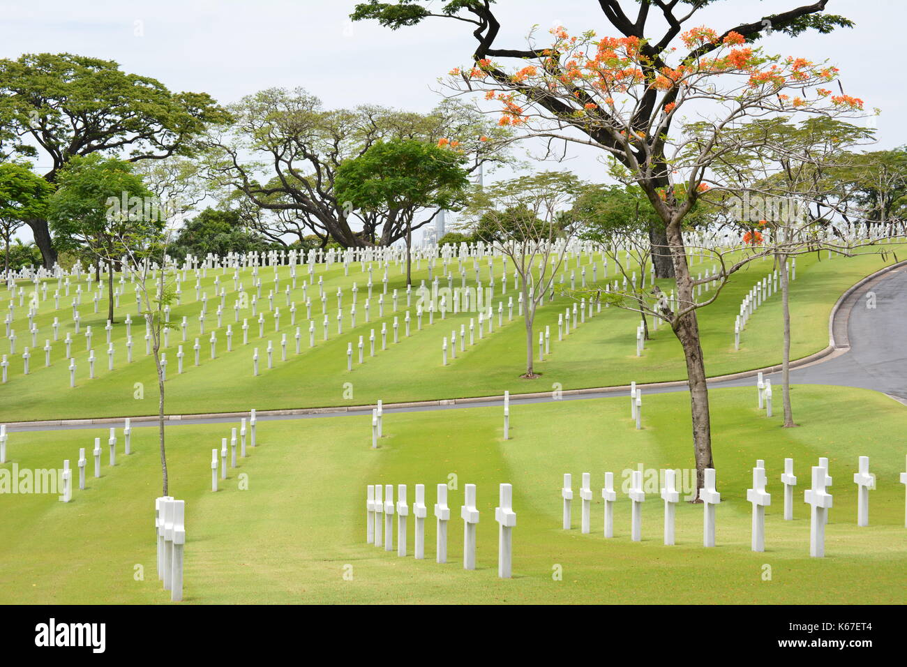 MANILA, PHILIPPINES - APRIL 1, 2016: Manila American Cemetery and Memorial. With 17,206 graves it is the largest Stock Photo