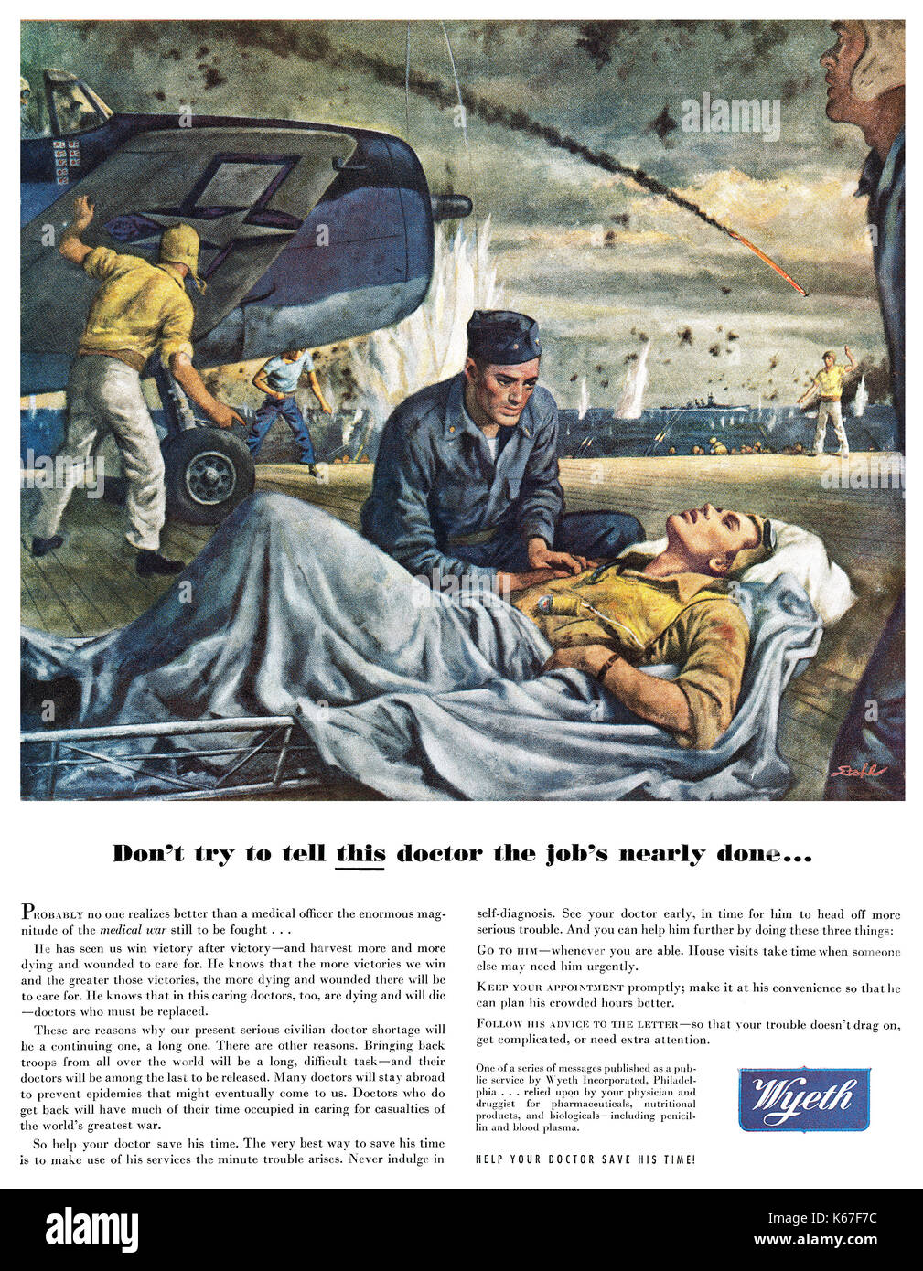 1945 U.S. wartime advertisement for Wyeth Pharmaceuticals (purchased by Pfizer in 2009.) - Stock Image