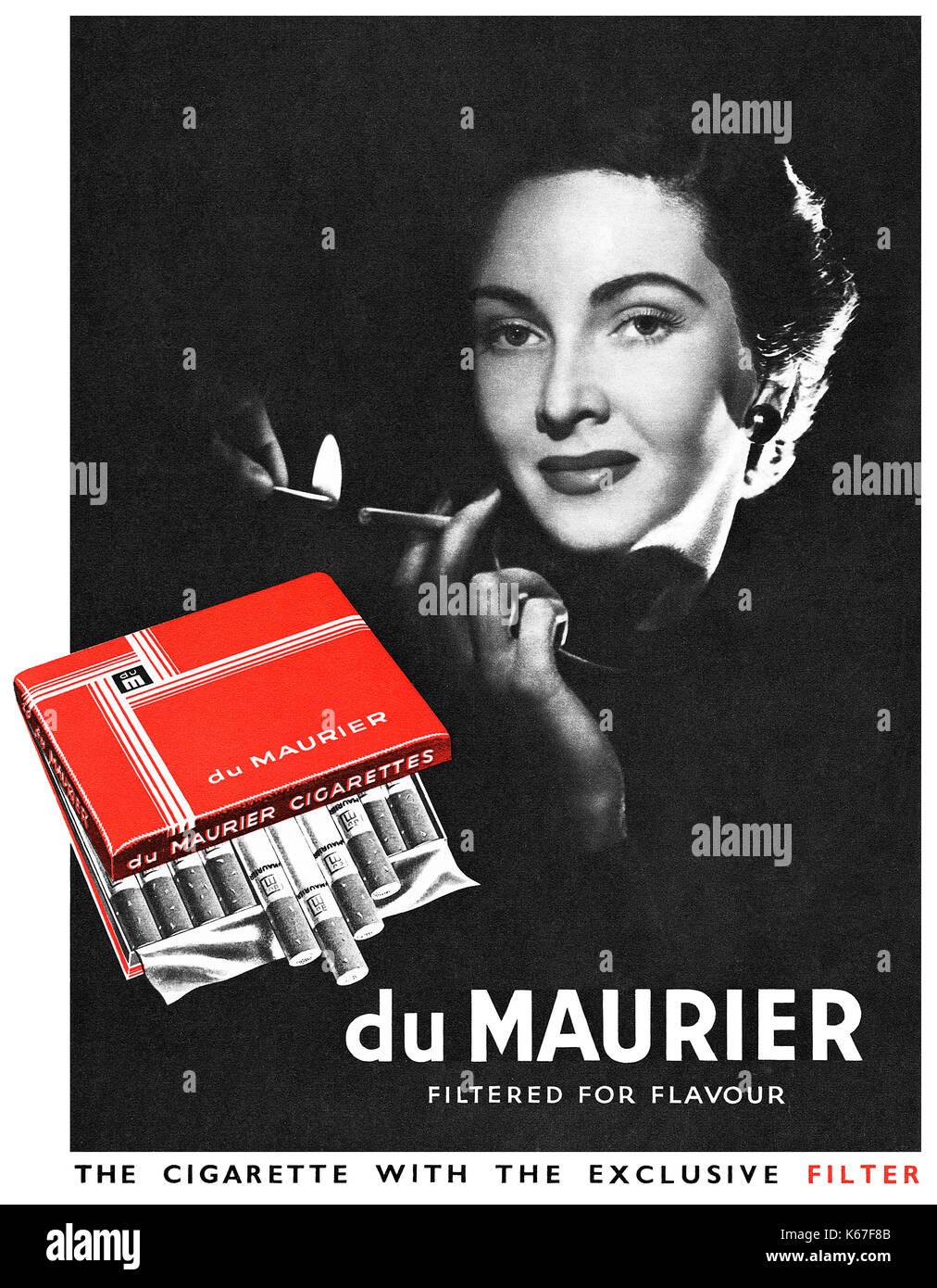 1949 British advertisement for du Maurier filtered cigarettes. - Stock Image