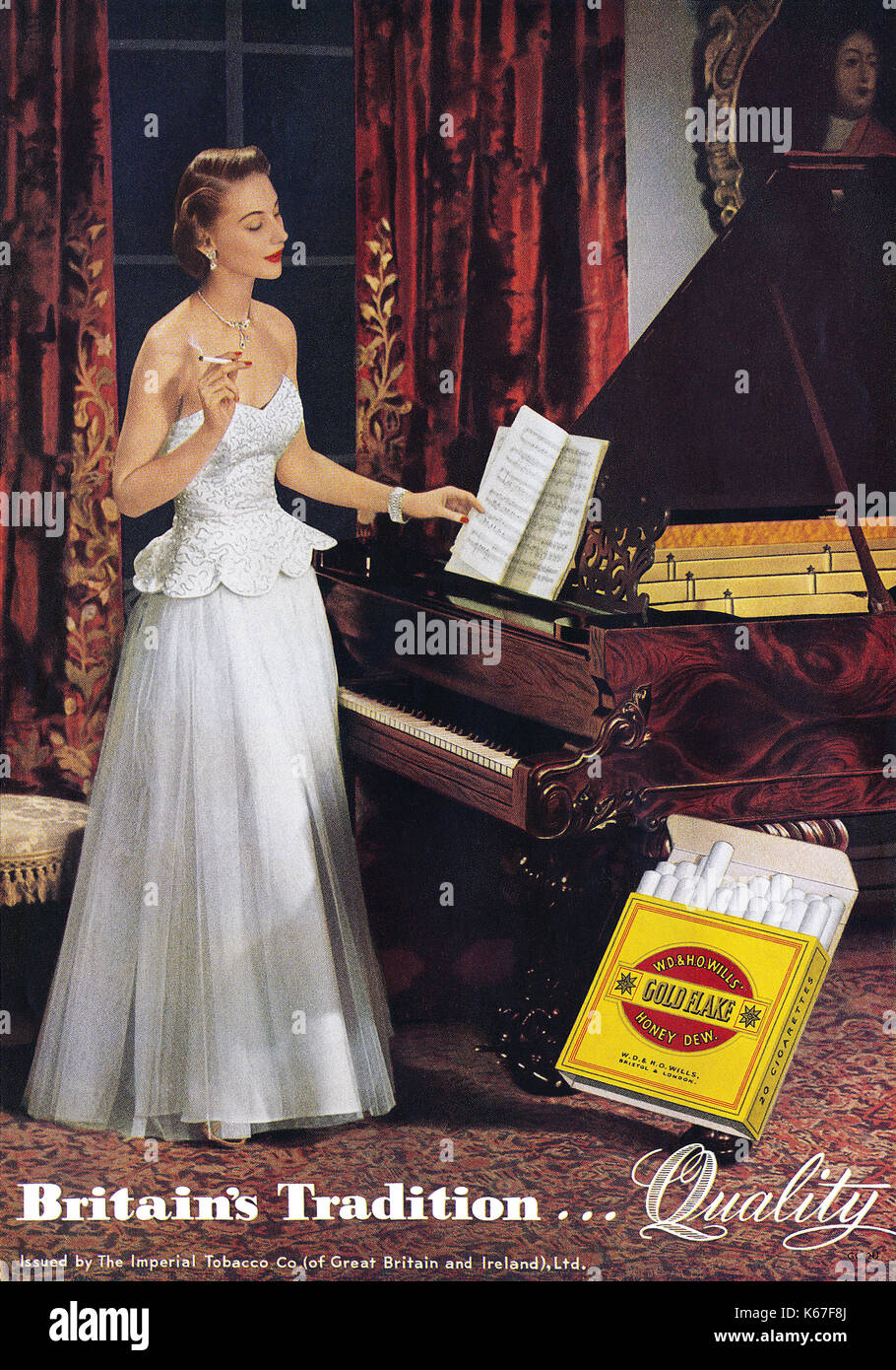1949 British advertisement for W.O. & H.O. Wills Gold Flake cigarettes. - Stock Image