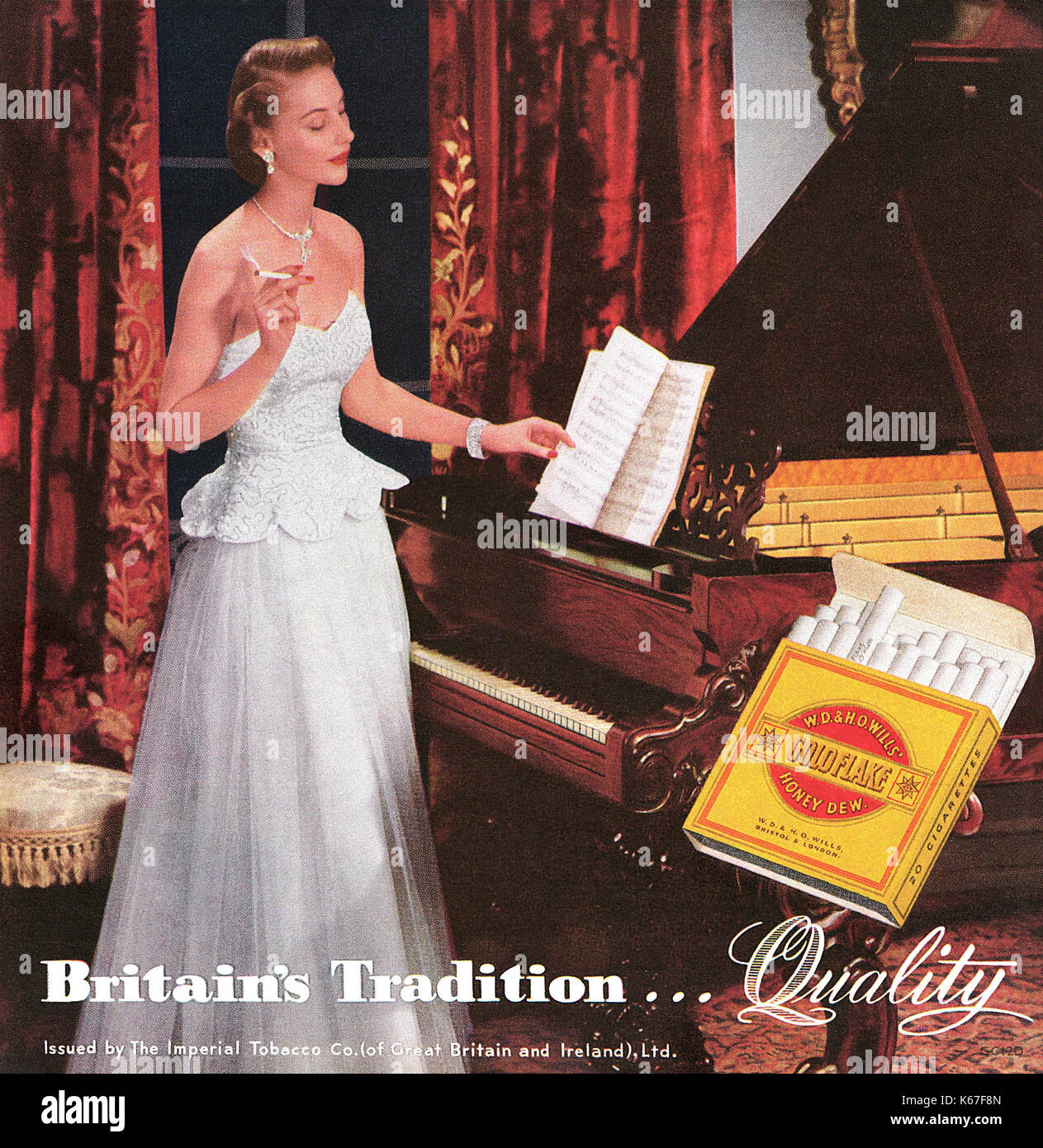 1949 British advertisement for W.D & H.O. Wills Gold Flake cigarettes. - Stock Image